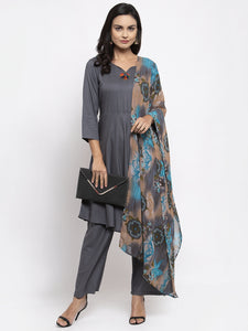 Jompers Women Grey Solid Kurta with Palazzos & Gorgette Printed Dupatta
