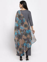 Load image into Gallery viewer, Jompers Women Grey Solid Kurta with Palazzos & Gorgette Printed Dupatta