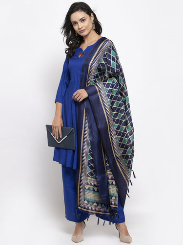 Jompers Women Royal-Blue Solid Kurta with Palazzos & Art-Silk Printed Dupatta