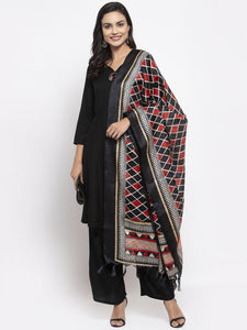 Jompers Women Black & Red Solid Kurta with Palazzos & Dupatta