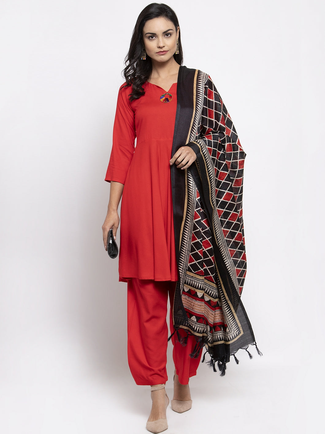 Jompers Women Red Solid Kurta with Palazzos & Printed Dupatta