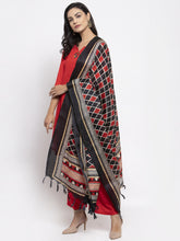 Load image into Gallery viewer, Jompers Women Red Solid Kurta with Palazzos & Printed Dupatta