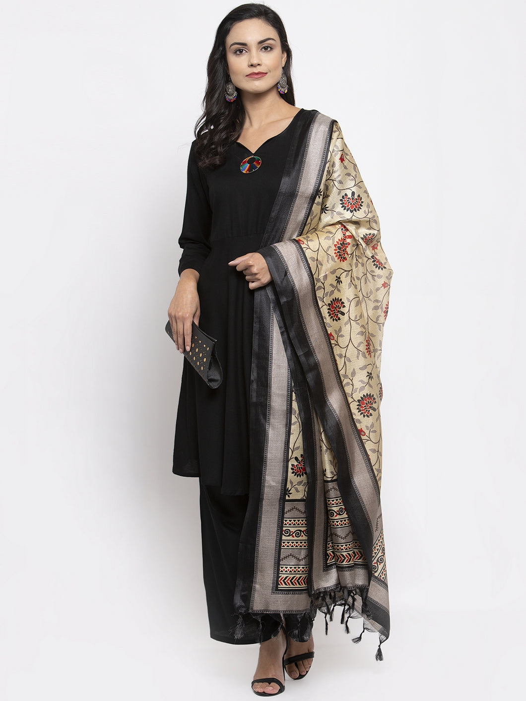 Jompers Women Black & Red Solid Kurta with Palazzos & Beige-Red Printed Dupatta