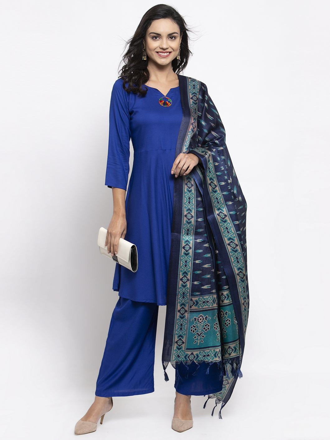 Jompers Women Royal-Blue Solid Kurta with Palazzos & Blue Art-Silk Printed Dupatta