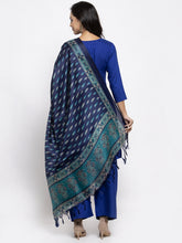 Load image into Gallery viewer, Jompers Women Royal-Blue Solid Kurta with Palazzos & Blue Art-Silk Printed Dupatta