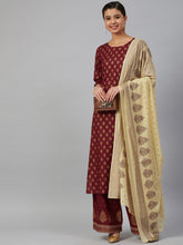 Load image into Gallery viewer, Jompers Women Maroon & Golden Printed Kurta with Palazzos & Dupatta ( JOKPL D 1360 Maroon )