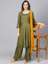 Load image into Gallery viewer, Jompers Women Olive Green Solid Kurta with Palazzos & Dupatta