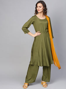 Jompers Women Olive Green Solid Kurta with Palazzos & Dupatta