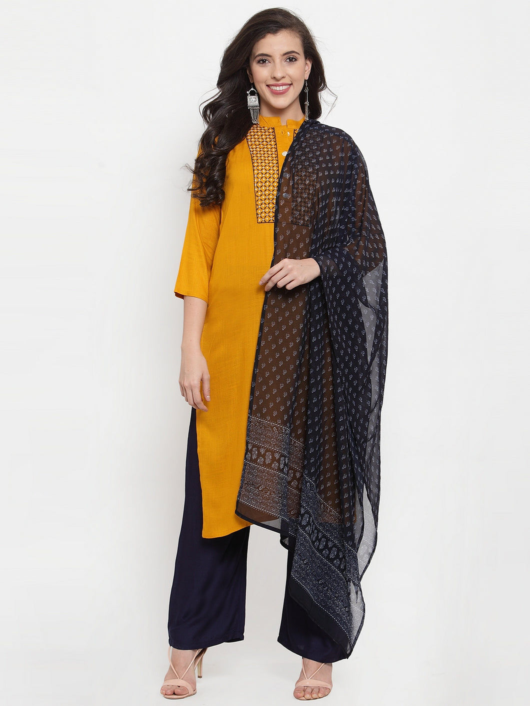 Women Mustard Yellow & Navy Blue Embroidered Kurta with Palazzos & Dupatta