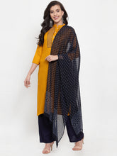 Load image into Gallery viewer, Women Mustard Yellow & Navy Blue Embroidered Kurta with Palazzos & Dupatta