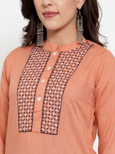 Load image into Gallery viewer, Women Mustard Peach & Navy Blue Embroidered Kurta with Palazzos & Dupatta (JOKPL NB D11B 1274 Peach)