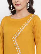 Load image into Gallery viewer, Women Mustard Yellow & Off-White Embroidered Kurta with Palazzos (JOKPL WG 1311 Mustard)