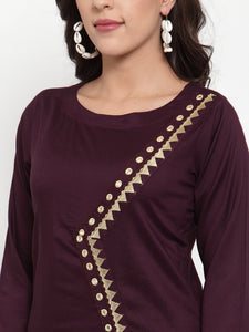 Women Purple Embroidered Kurta with Palazzos