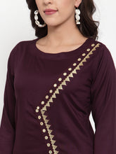 Load image into Gallery viewer, Women Purple Embroidered Kurta with Palazzos (JOKPL WG 1311 Wine)