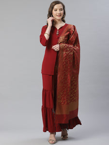 Jompers Women Maroon & Golden Solid Kurti with Sharara & Woven Design Dupatta
