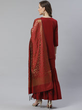 Load image into Gallery viewer, Jompers Women Maroon & Golden Solid Kurti with Sharara & Woven Design Dupatta