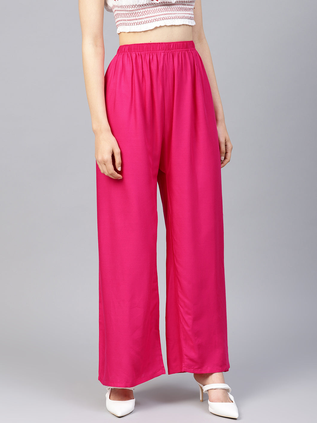 Jompers Women Pink Solid Straight Palazzos