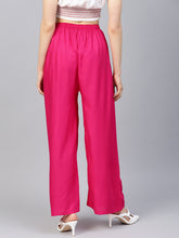 Load image into Gallery viewer, Jompers Women Pink Solid Straight Palazzos