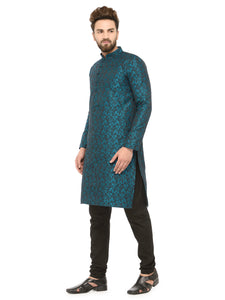 Men Green & Black Self Design Kurta with Churidar - Jompers