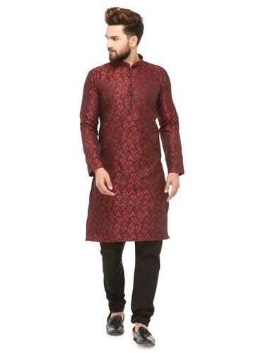 Men Maroon & Black Self Design Kurta with Churidar - Jompers