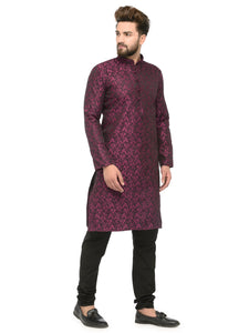 Men Purple & Black Self Design Kurta with Churidar