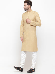 Men Beige & White Solid Kurta with Churidar