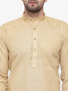 Men Beige & White Solid Kurta with Churidar - Jompers