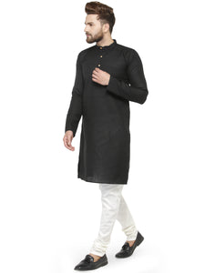 Men Black & White Solid Kurta with Churidar - Jompers