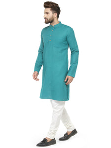 Men Green & White Solid Kurta with Churidar - Jompers