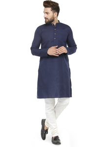 Men Navy Blue & White Solid Kurta with Churidar - Jompers