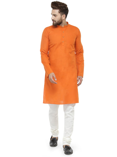 Orange & White Solid Kurta with Churidar - Jompers