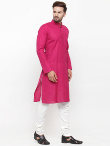 Men Pink & White Solid Kurta with Churidar - Jompers