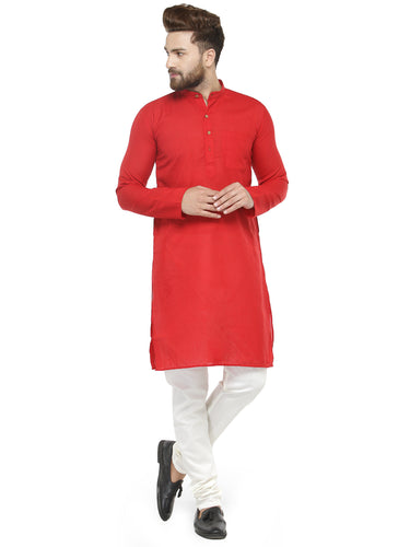Men Red & White Solid Kurta with Churidar - Jompers
