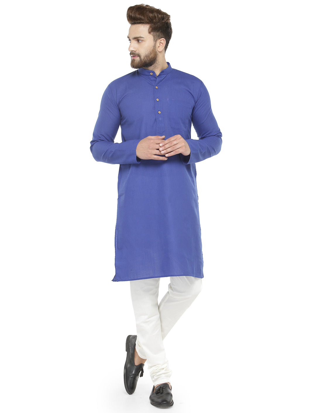 Royal Blue & White Solid Kurta with Churidar - Jompers