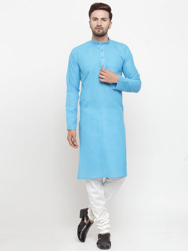 Men Sky Blue & White Solid Kurta with Churidar - Jompers