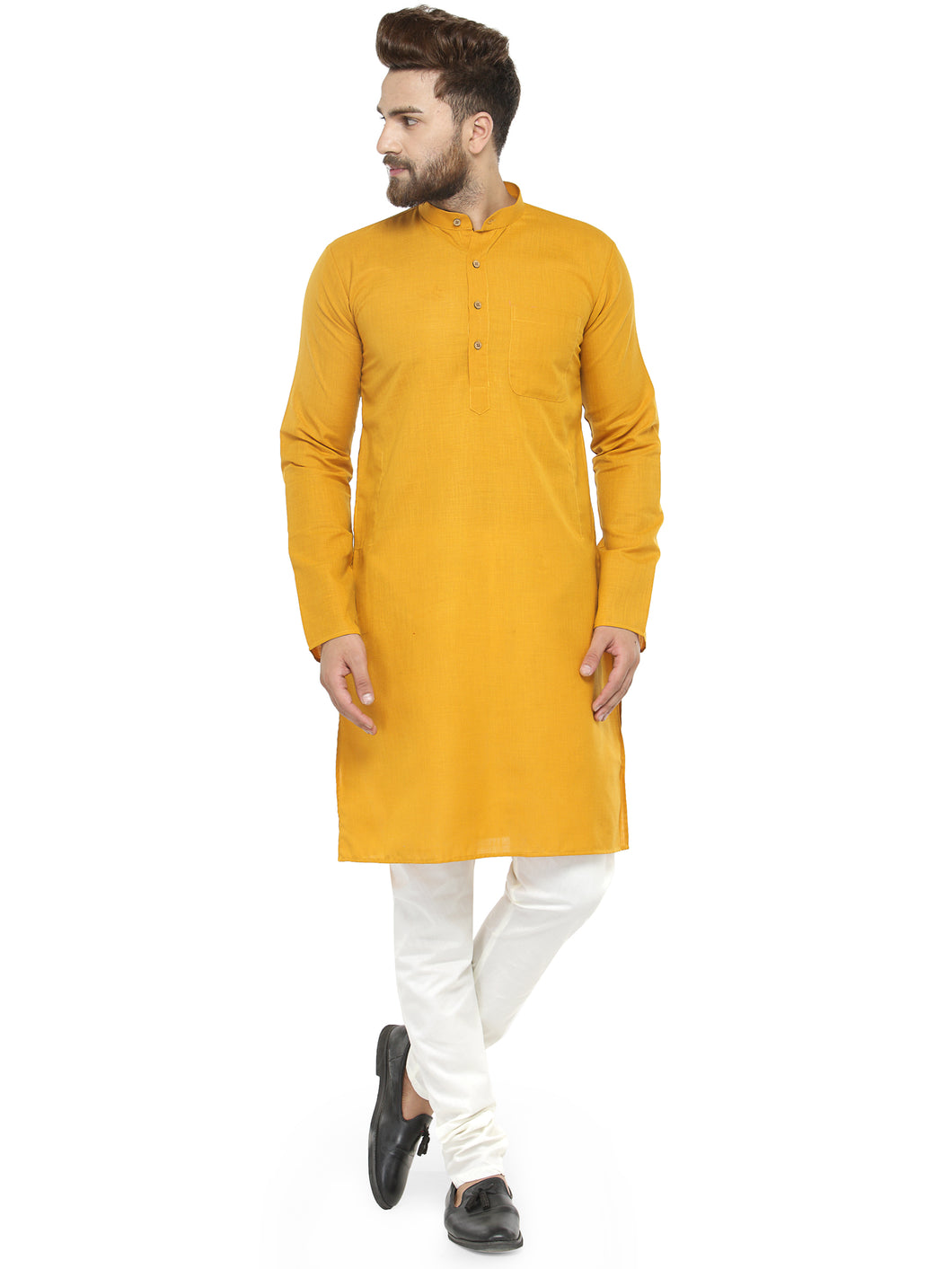 Yellow & White Solid Kurta with Churidar - Jompers