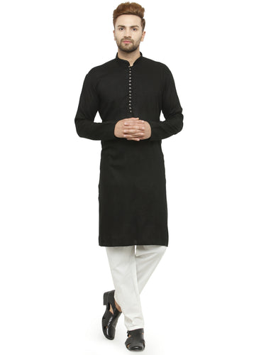 Men Black Solid Kurta with Churidar - Jompers