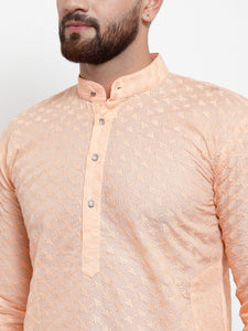 Jompers Men Orange Chikan Kurta with Churidar