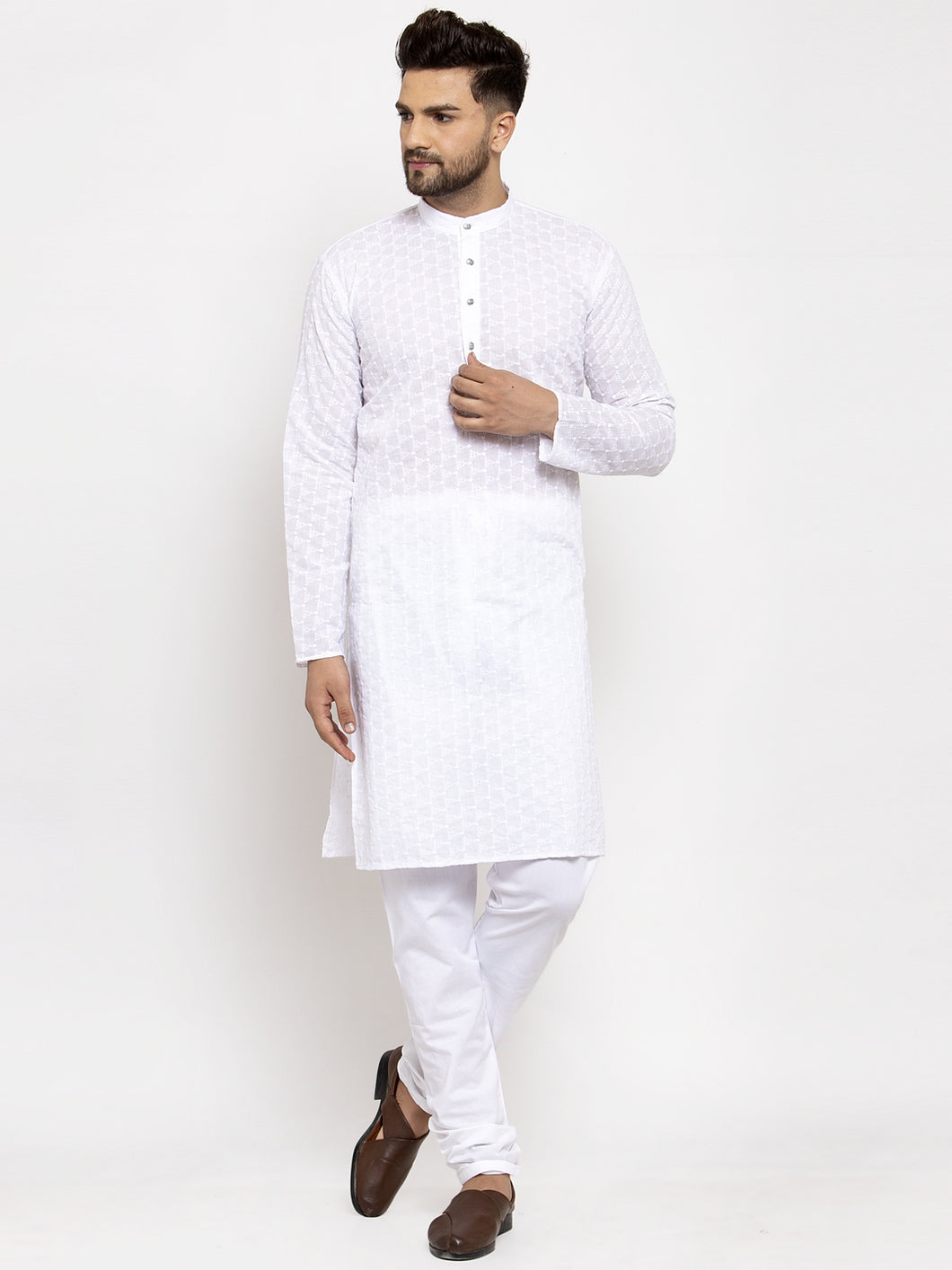 Jompers Men White Chikan Kurta with Churidar ( JOKP 561 White )