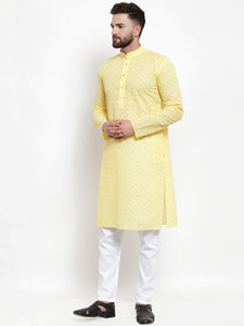 Jompers Men Yellow Chikan Kurta with Churidar ( JOKP 561 Yellow )