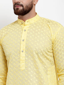 Jompers Men Yellow Chikan Kurta Only
