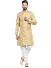Load image into Gallery viewer, Men Golden Self Design Kurta with Churidar - Jompers