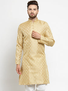 Men Golden Self Design Kurta Only