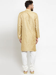 Men Golden Self Design Kurta with Churidar - Jompers
