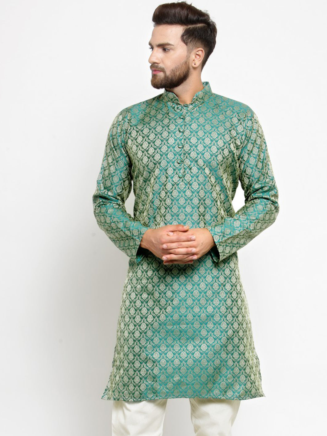 Men Green & Beige Self Design Kurta Only ( KO 568 Green )