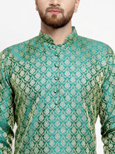 Load image into Gallery viewer, Men Green & Beige Self Design Kurta with Churidar - Jompers