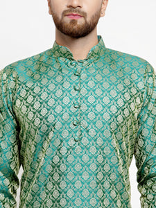 Men Green & Beige Self Design Kurta with Churidar - Jompers