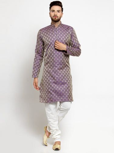 Men Purple & Beige Self Design Kurta with Churidar - Jompers