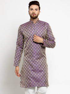 Men Purple & Beige Self Design Kurta Only ( KO 568 Purple )