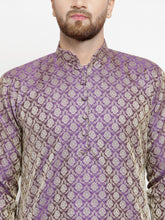 Load image into Gallery viewer, Men Purple & Beige Self Design Kurta with Churidar - Jompers
